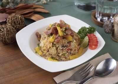 Hawaiian Fried Rice with Pineapple, Ham, and Mixed Vegetables
