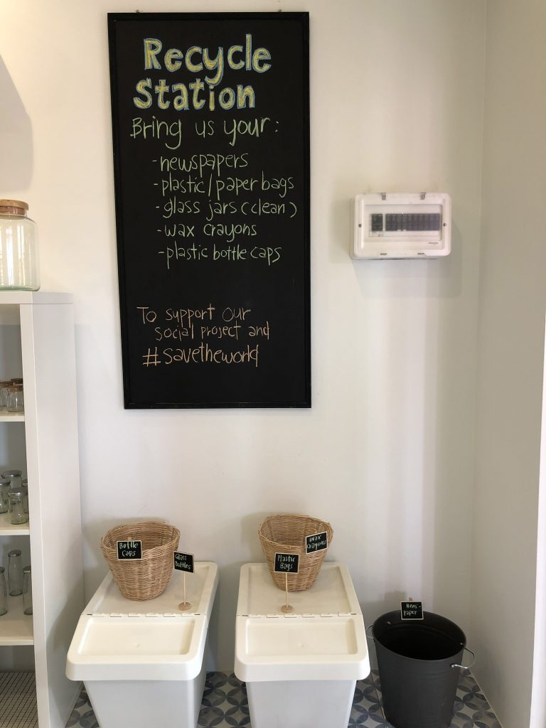 Recycle station at Steps Zero Waste shop